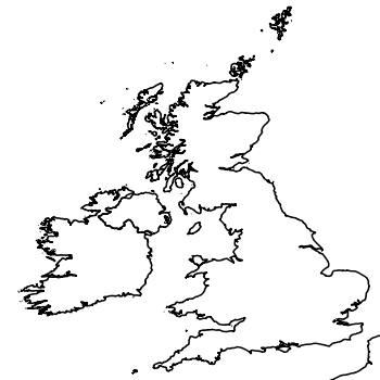 Map of the UK with areas shaded to show the UK distribution of tubificid worm