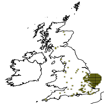 Map of the UK with areas shaded to show the UK distribution of Coypu