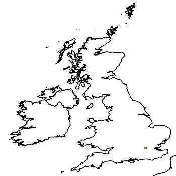 Map of the UK with areas shaded to show the UK distribution of Red Swamp Crayfish