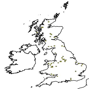 Map of the UK with areas shaded to show the UK distribution of American Brook Trout