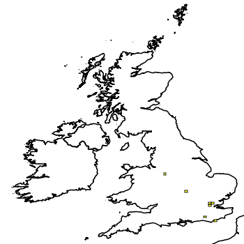 Map of the UK with areas shaded to show the UK distribution of American Bullfrog