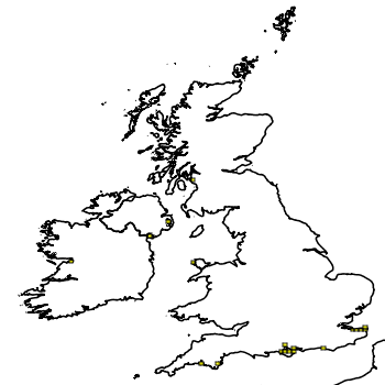 Map of the UK with areas shaded to show the UK distribution of Carpet Sea-squirt